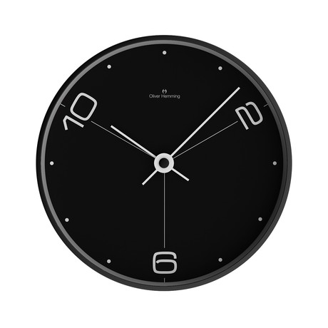12 Black Steel Wall Clock // W300B14BTW