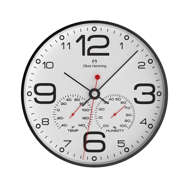 12 Black Steel Weather Station Wall Clock W300b51wftb