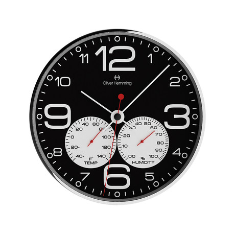 Chrome Weather Station Wall Clock // Black