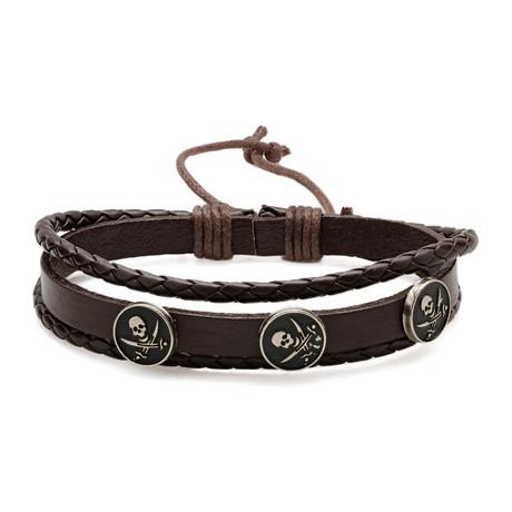 Jolly Roger Medallion Leather Bracelet // Brown
