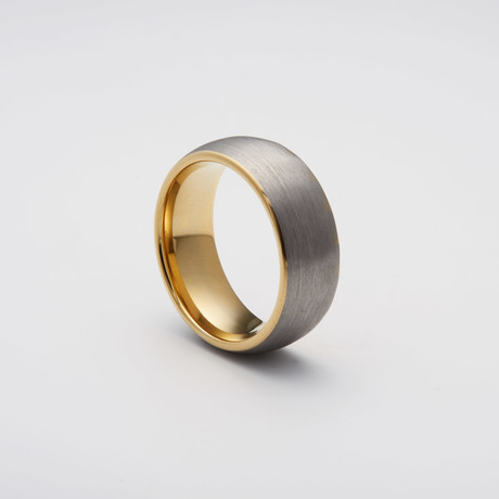 Brushed Tungsten Carbide Ring // Gold