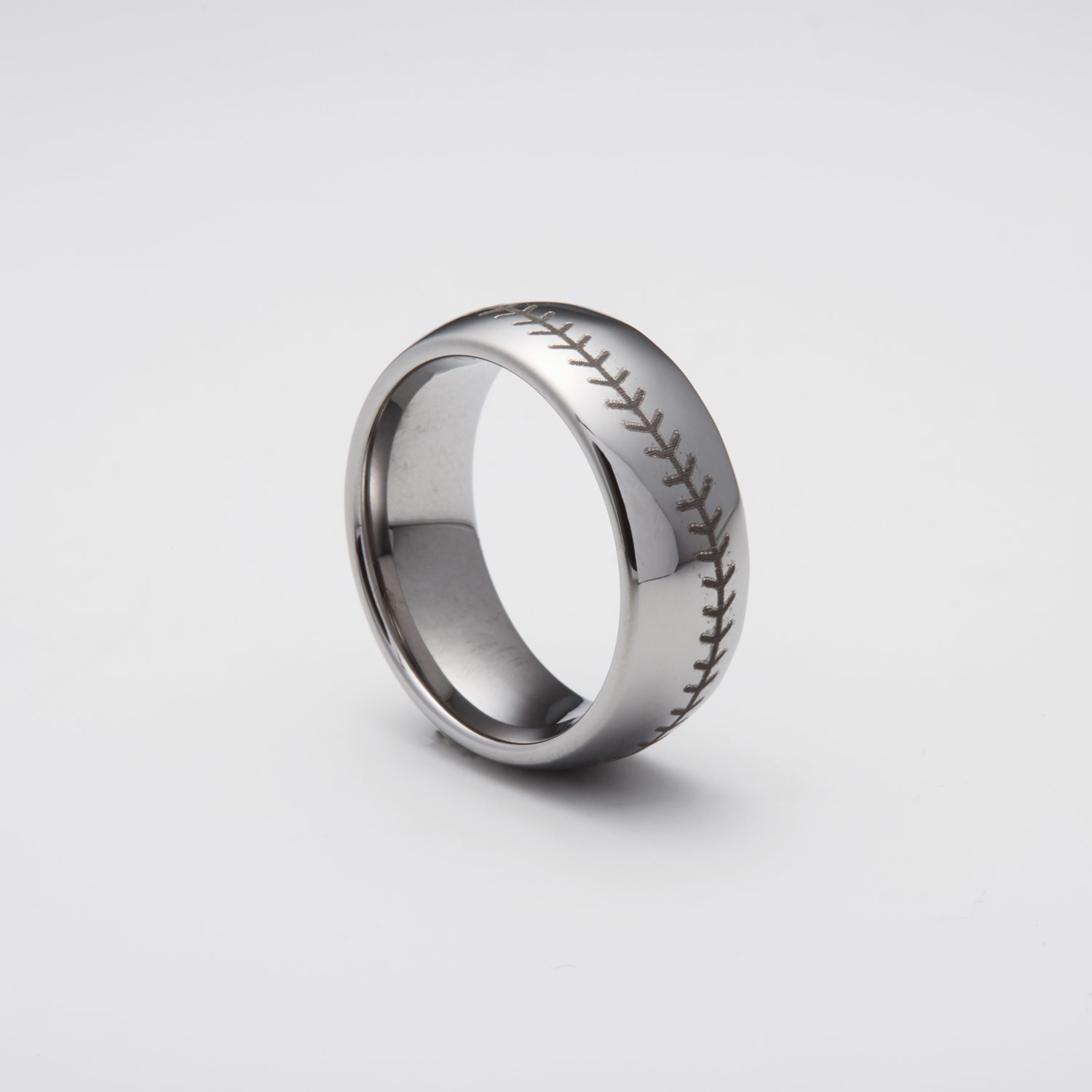 Engraved Tungsten Carbide Ring Baseball Stitched Size 8
