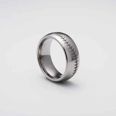 Engraved Tungsten Carbide Ring // Baseball Stitched