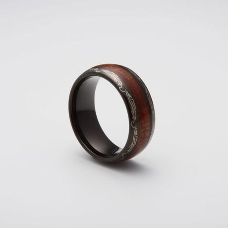 Koa Wood Inlay Engraved Tungsten Carbide Ring // Black (Size 8)