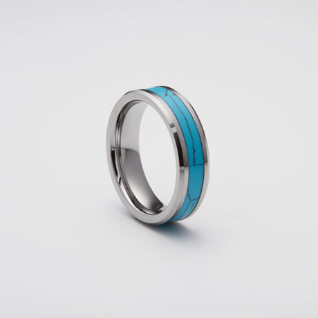 Turquoise Inlay Tungsten Carbide Ring (Size 8)