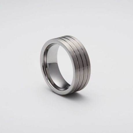 Engraved Tungsten Carbide Band Ring // Parallel