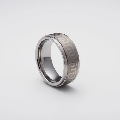 Engraved Tungsten Carbide Ring // Greek Key (Size 8)