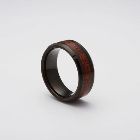 Koa Wood Inlay Tungsten Carbide Ring // Black (Size 8)