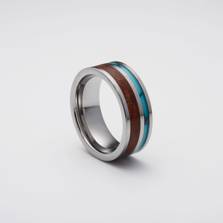 Koa Wood + Turquoise Inlay Tungsten Carbide Ring (Size 8)