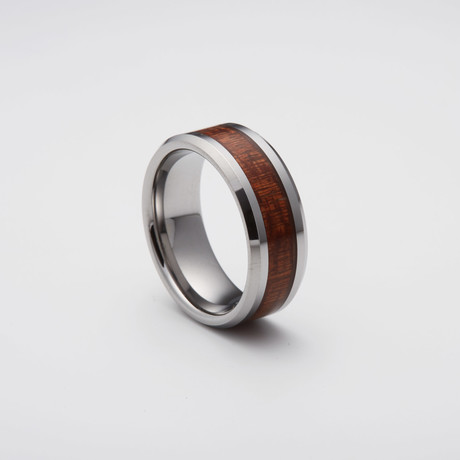 Koa Wood Inlay Tungsten Carbide Ring // Silver