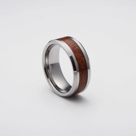 Koa Wood Inlay Tungsten Carbide Ring // Silver (Size 8)