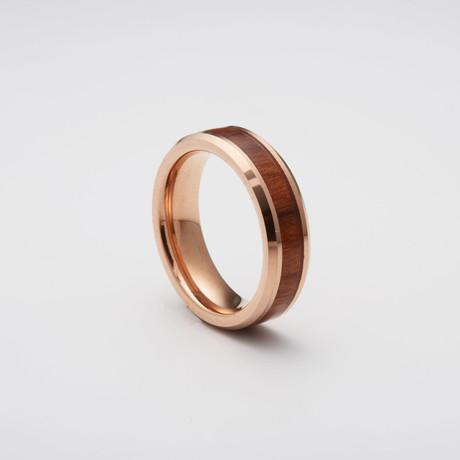 Koa Wood Inlay Tungsten Carbide Ring // Rose Gold (Size 8)