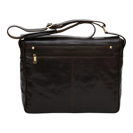 Verona Laptop Compartment Messenger Bag // Dark Brown