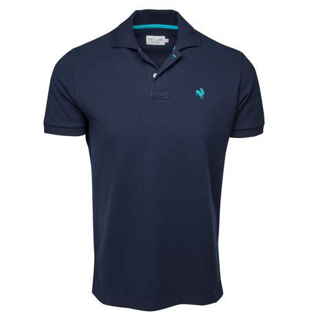 Secret Loop Short-Sleeve Polo // Navy + Sea Green (S)