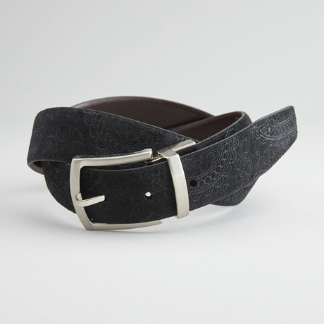"Suede Paisley Embossed Reversible Belt // Black + Brown (36"" Waist)"