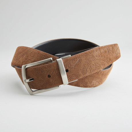 "Suede Paisley Embossed Reversible Belt // Brown + Black (40"" Waist)"