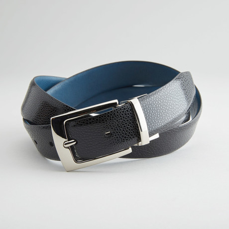"Textured Reversible Belt // Black + Navy (32"" Waist)"