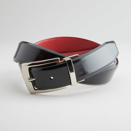 "Textured Reversible Belt // Black + Red (32"" Waist)"
