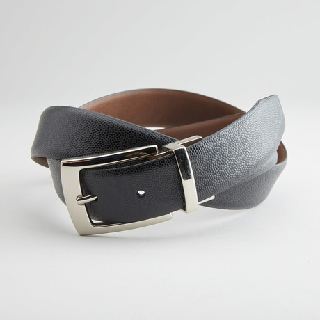 "Pebble Grain Reversible Belt // Black + Brown (36"" Waist)"