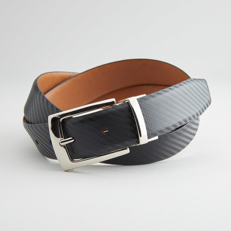 "Textured Reversible Belt // Black + Tan (34"" Waist)"