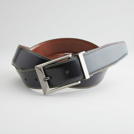 "Rainbow Stitched Reversible Belt // Black + Cognac (36"" Waist)"