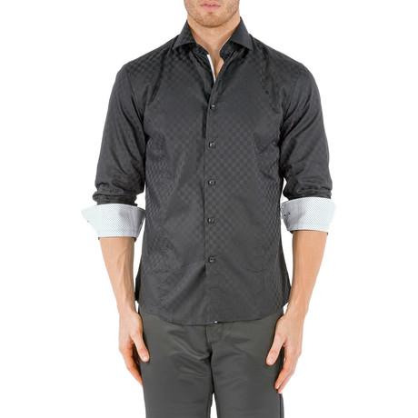 Checkered Long-Sleeve Button-Up Shirt // Black (XS)