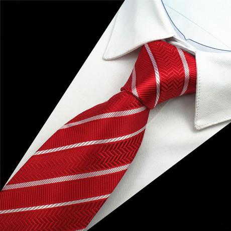 Atticus Tie // Red + Silver