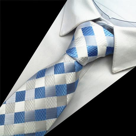 Sebastian Silk Tie // Silver + Blue