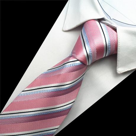 Cameron Tie // Pink + Silver