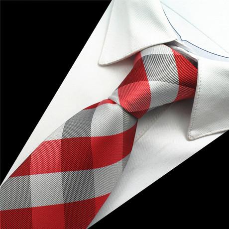 Greyson Tie // Red + Silver