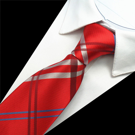 Murray Tie // Red + Silver