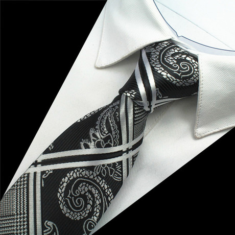 Rowan Silk Tie // Black + Silver