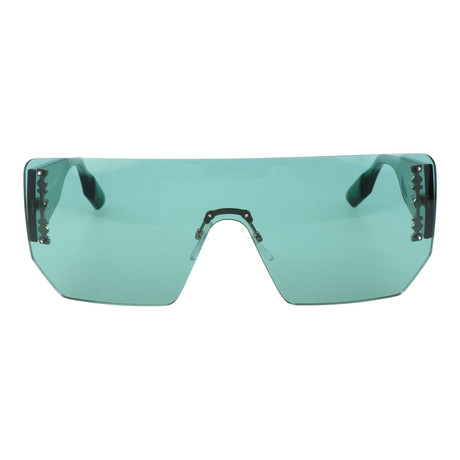 Angled Frameless Shield Sunglasses // Teal