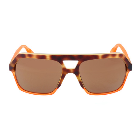 MCQ // Heavy Top Bar Hexagonal Sunglasses // Neon Orange + Brown Spot