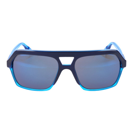 Heavy Top Bar Hexagonal Sunglasses // Blue
