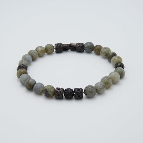 Labradorite Bead Bracelet // Gunmetal