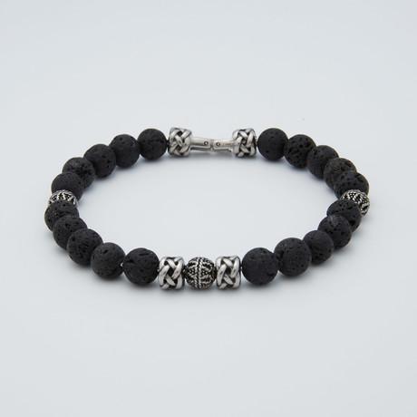 Lava Stone Bead Bracelet // Charcoal + Steel