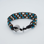 Triple Row Beaded Leather Bracelet // Light Blue + Brown + White