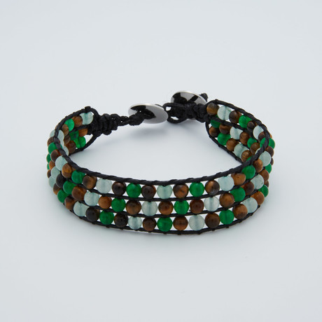 Triple Row Beaded Leather Bracelet // Green + Brown