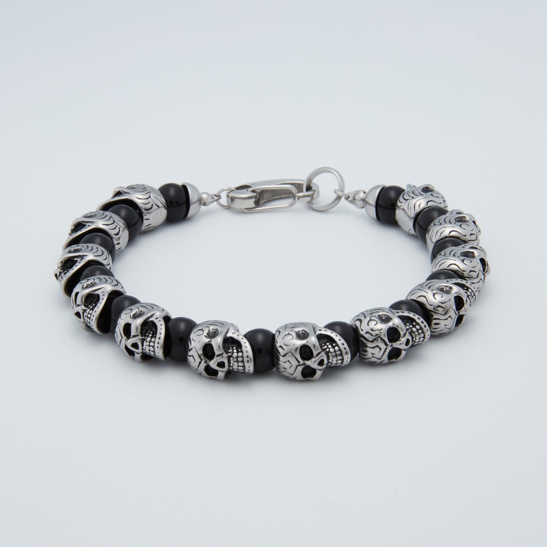 Skull Bracelet Onyx Stainless Steel