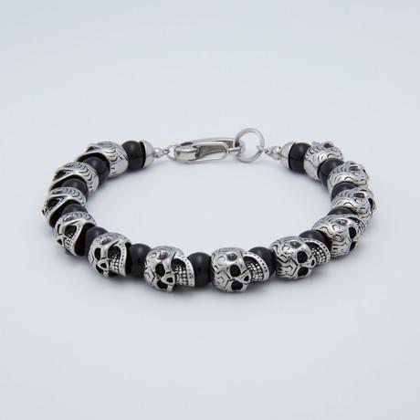 Skull Bracelet // Onyx Stainless Steel