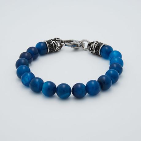 Onyx Bead Lobster Clasp Bracelet // Blue