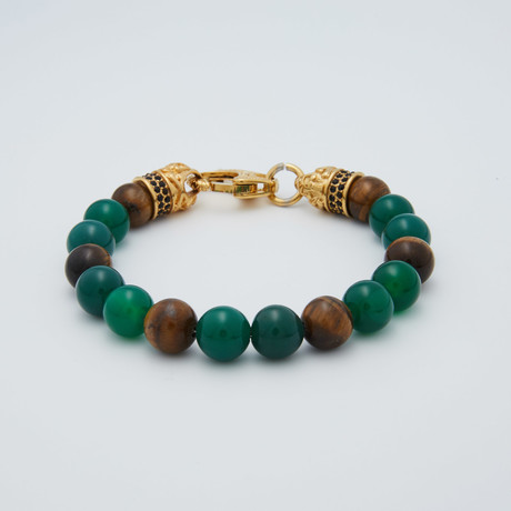 Tiger's Eye + Agate Lobster Clasp Bracelet // Green + Brown + Gold