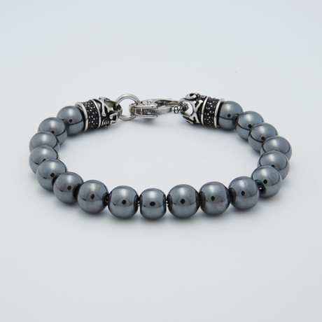 Hematite Bead Lobster Clasp Bracelet // Gray + Steel