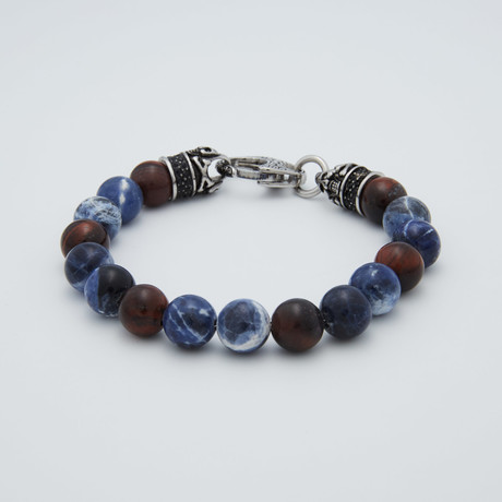 Sodalite + Tiger Eye Lobster Clasp Bracelet // Red