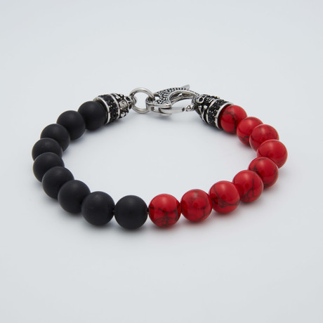 Fossil + Onyx Lobster Clasp Bracelet // Red