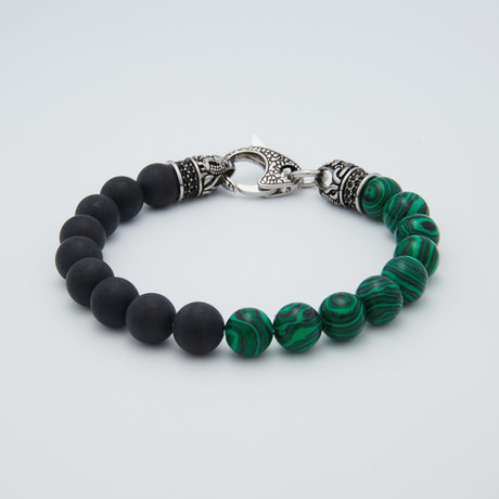 Malachite + Onyx Bead Lobster Clasp Bracelet // Green + Black