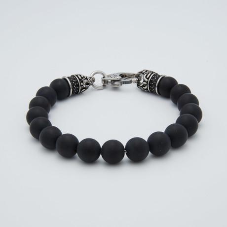 Onyx Bead Lobster Clasp Bracelet // Black