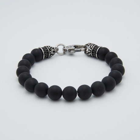 Onyx Bead Lobster Clasp Bracelet // Black