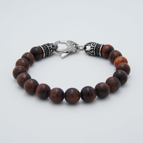 Lobster Clasp Bracelet // Red + Tiger's Eye